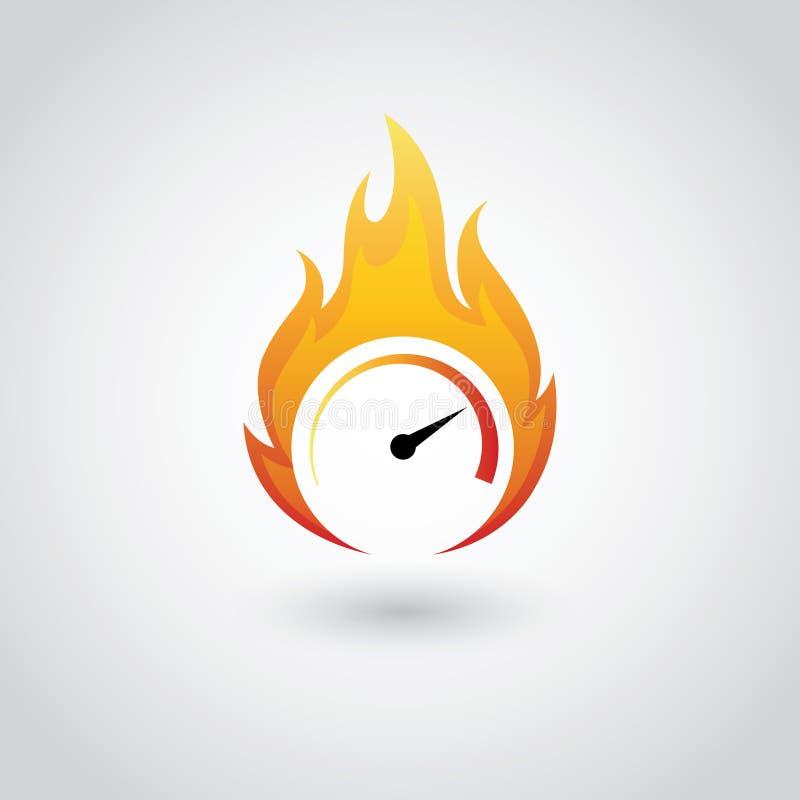 Спидометр на пожаре иллюстрация вектора