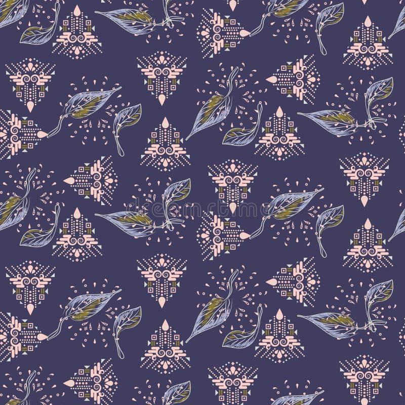 Сплавливание картины этнических и листвы фиолетовой безшовной вектора иллюстрация штока