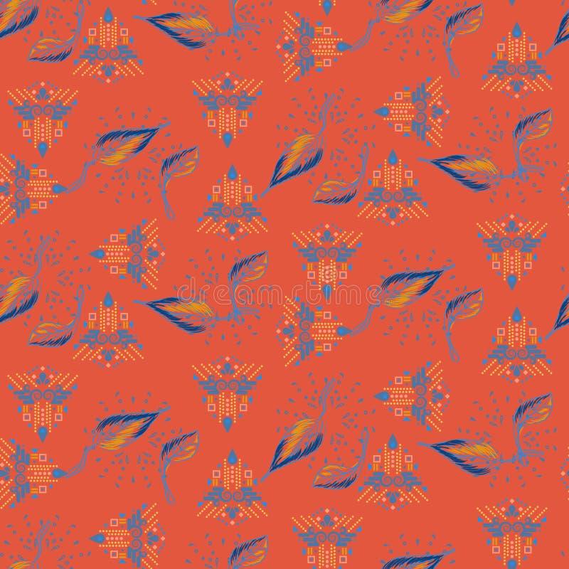 Сплавливание эклектичной картины племенных и листвы красной безшовной вектора иллюстрация штока