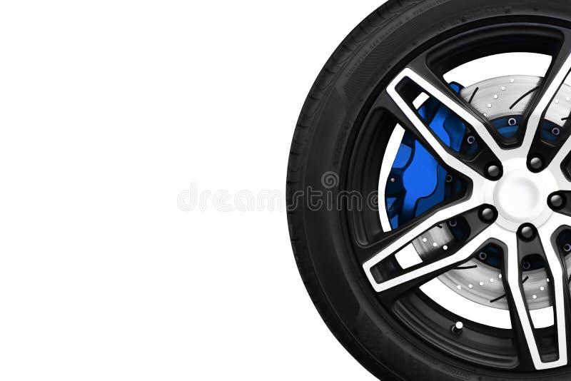 Сплавьте колеса гоночного автомобиля с тормозными шайбами металла и голубым calip стоковая фотография
