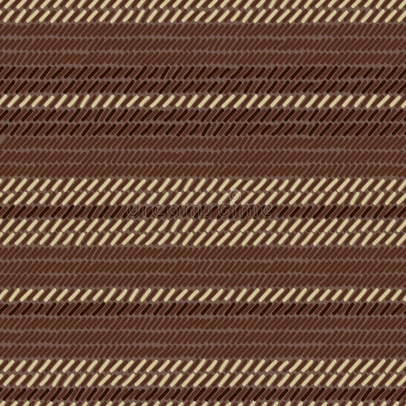 Сплетенные Брайн и бежевый половик striped картина ткани безшовная, вектор иллюстрация вектора