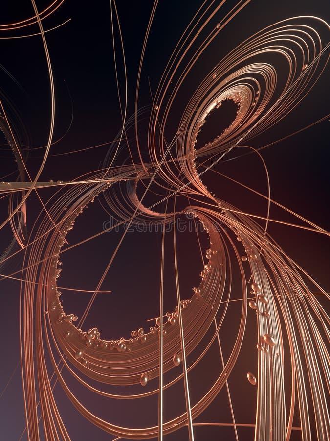 Сплетите роскошные линии золота с сияющими шариками Состав Astract r иллюстрация вектора