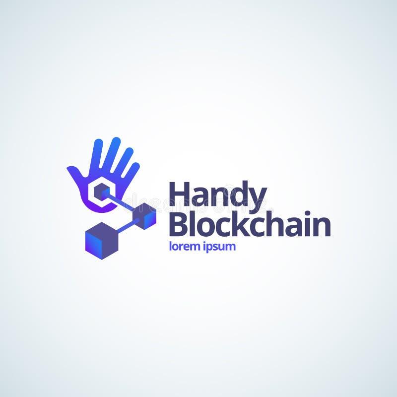 Сподручные знак вектора Absrtract технологии Blockchain, символ или шаблон логотипа Рука ладони с соединенным градиентом кубов це иллюстрация вектора