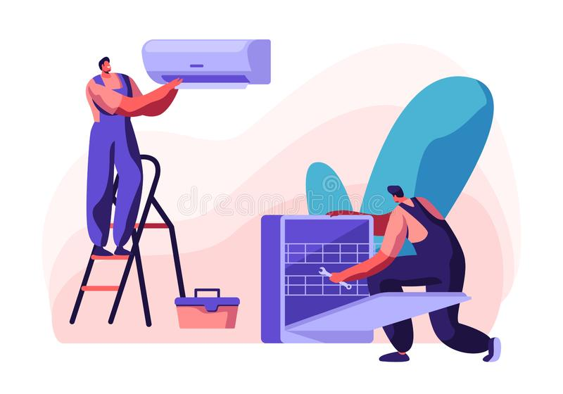 Сподручные люди исправляя сломленные проводник и судомойка дома, супруг на час, электрик методов отладки ремонтных услуг сломленн бесплатная иллюстрация