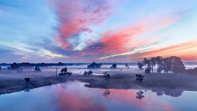 Спокойная влажная земля на красочном рассвете стоковая фотография