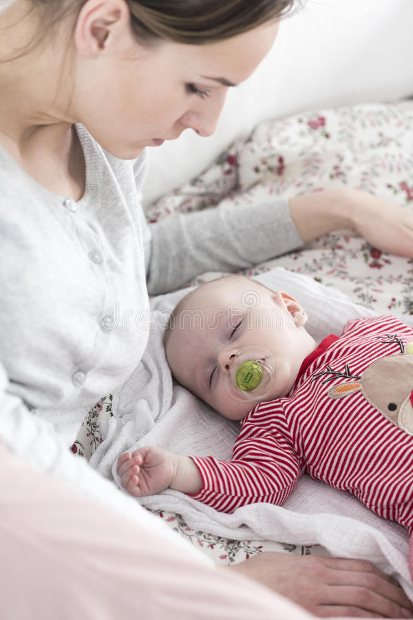 Спокойная ворсина с мамой в после полудня стоковое изображение rf