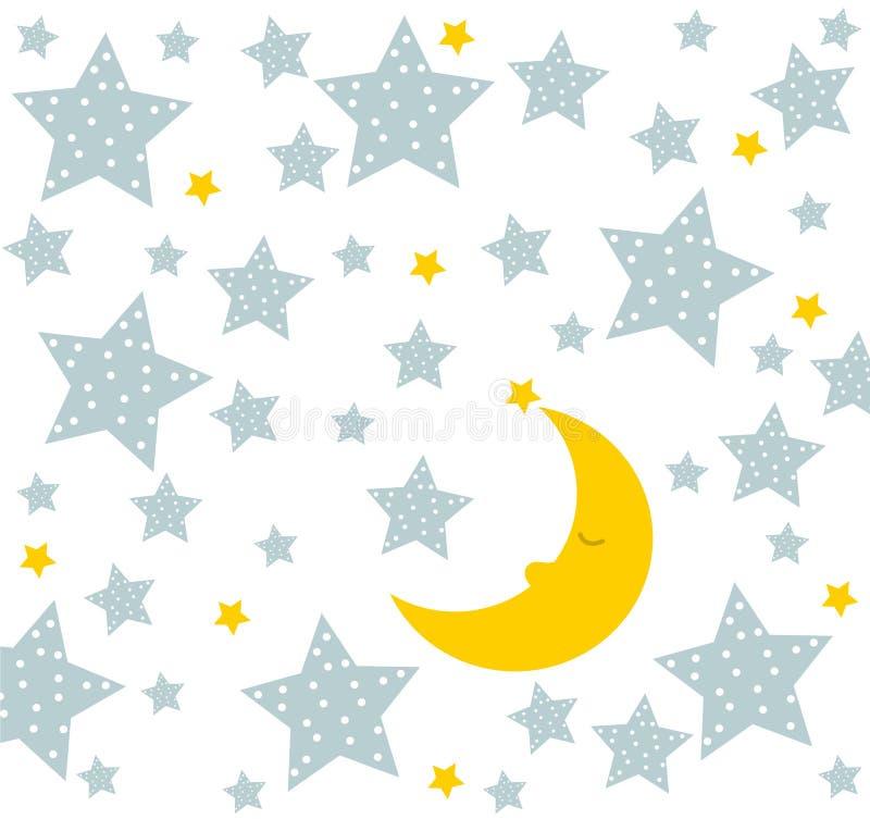 Спокойная ночь! Луна спит хорошо Милый чертеж для детей бесплатная иллюстрация
