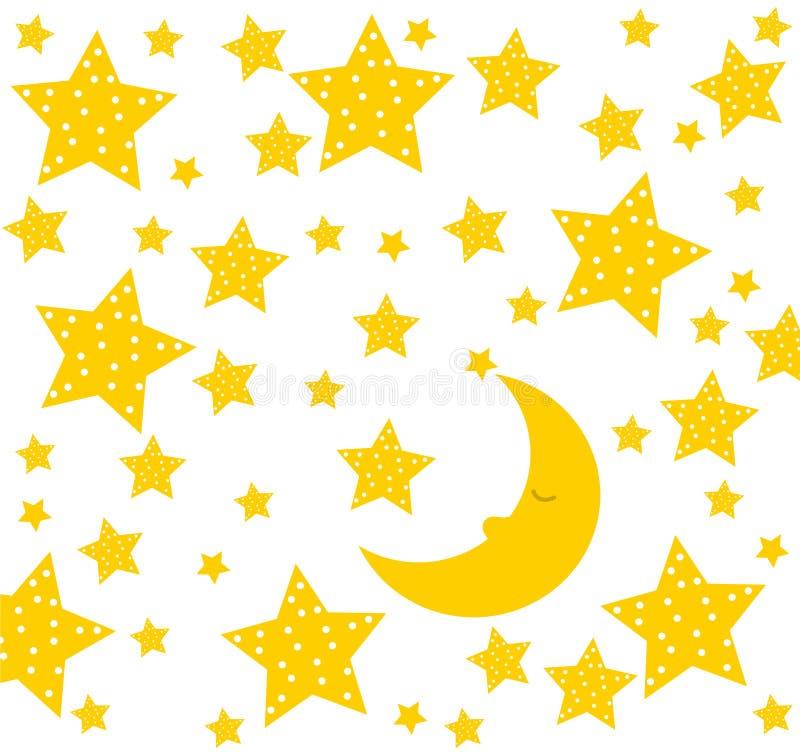 Спокойная ночь! Луна спит хорошо Милый чертеж для детей иллюстрация вектора