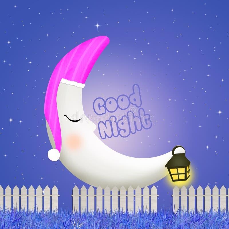 Спокойная ночь с луной иллюстрация вектора
