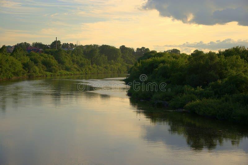 Спокойная подача реки леса вдоль банков перерастанных с высокими деревьями с отражающими облаками E стоковое фото rf
