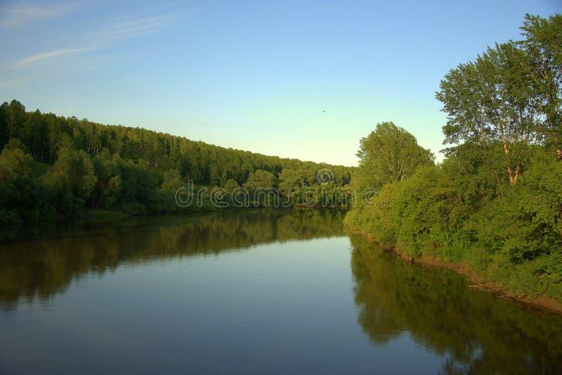 Спокойная подача реки леса отражает в своих водах лес на банках и небе E стоковые изображения