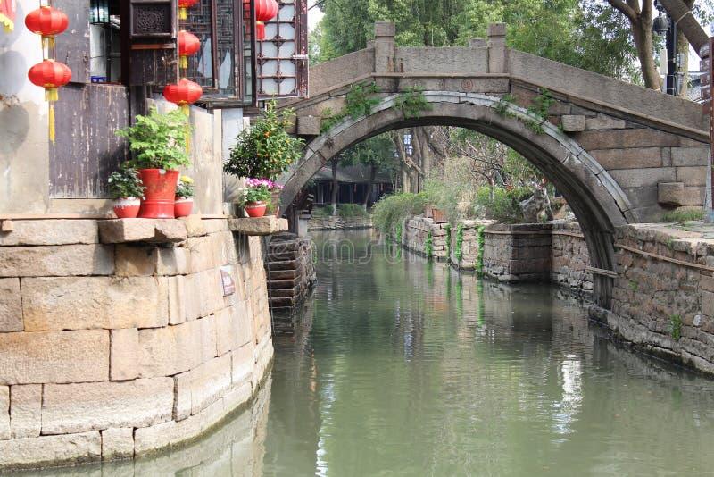 Спокойное утро в южном реке города СУЧЖОУ Китая стоковое изображение rf