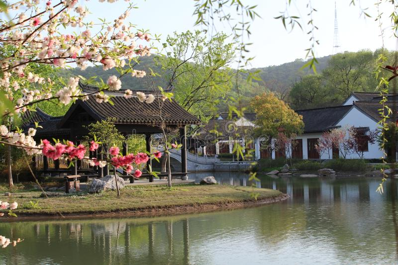 Спокойное утро в южном реке города СУЧЖОУ Китая стоковые фотографии rf