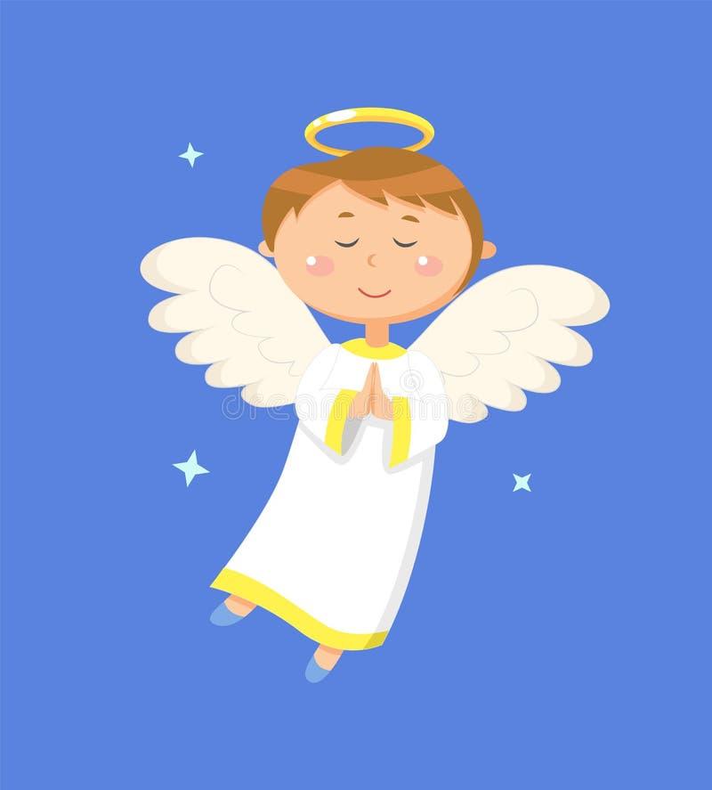 Спокойный ангел моля, мирный ангеликовый ребенок мальчика иллюстрация вектора