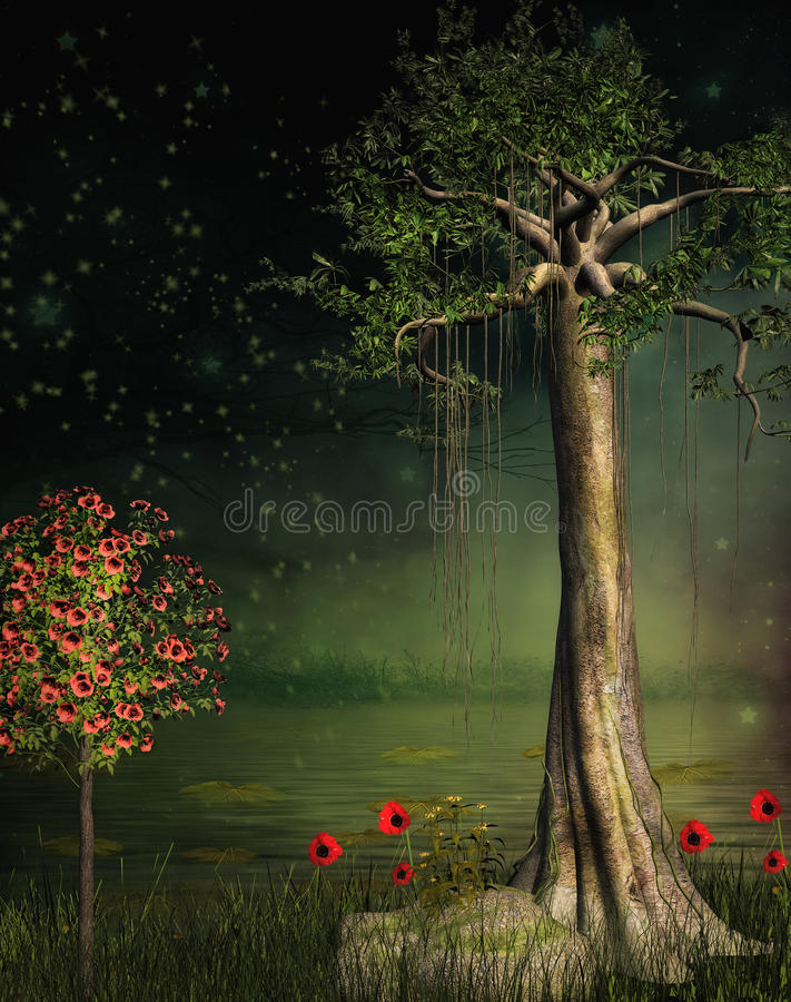 Спокойный сад фантазии иллюстрация вектора