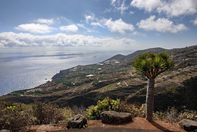Спокойствие и безмятежность на заходе солнца на Ла Palma острова, канерейке стоковое фото rf