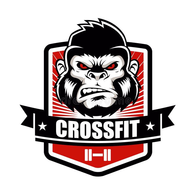 Спортзал фитнеса гориллы и эмблема логотипа спортивного клуба конструируют иллюстрация штока