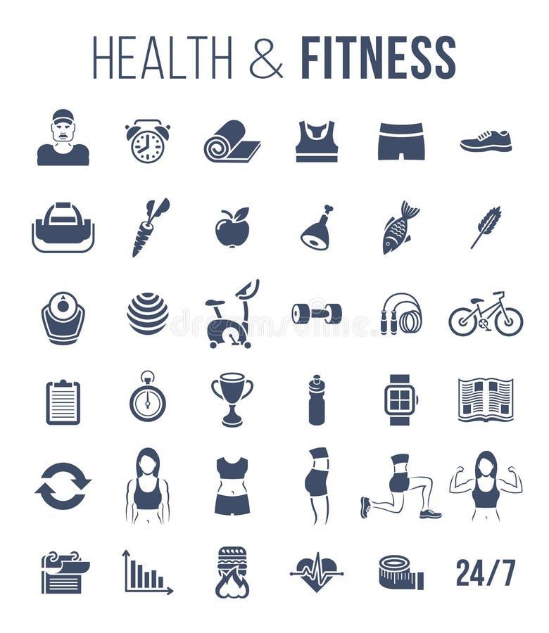 Спортзал фитнеса и силуэты здорового образа жизни плоские vector значки иллюстрация штока