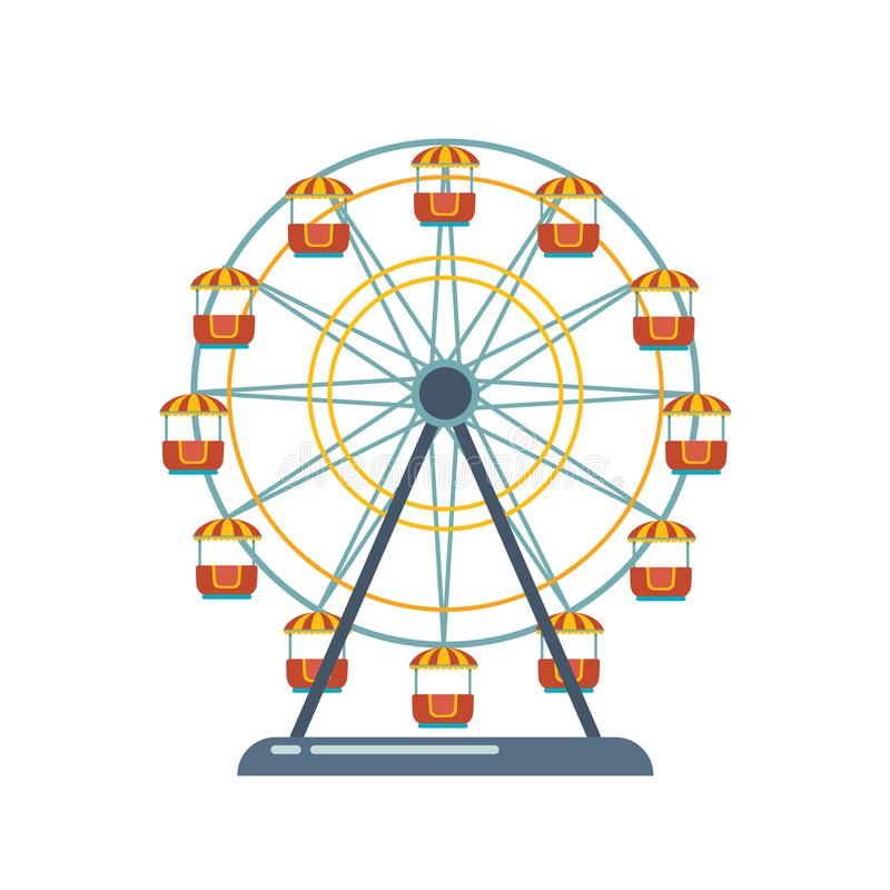Спортивная площадка развлечений ` s детей, парк воссоздания Ярмарка с колесом ferris иллюстрация вектора