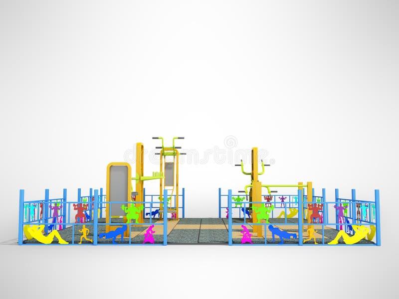 Спортивная площадка с тренировкой турника тренажера силы иллюстрация вектора