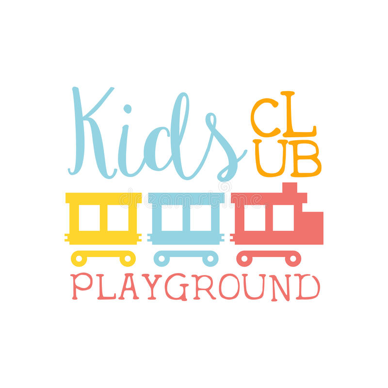 Спортивная площадка земли детей и знак Promo клуба развлечений красочный с поездом игрушки для играя космоса для детей иллюстрация вектора