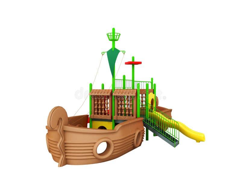 Спортивная площадка для зеленого цвета 3d коричневого цвета корабля детей желтого представляет на whi бесплатная иллюстрация