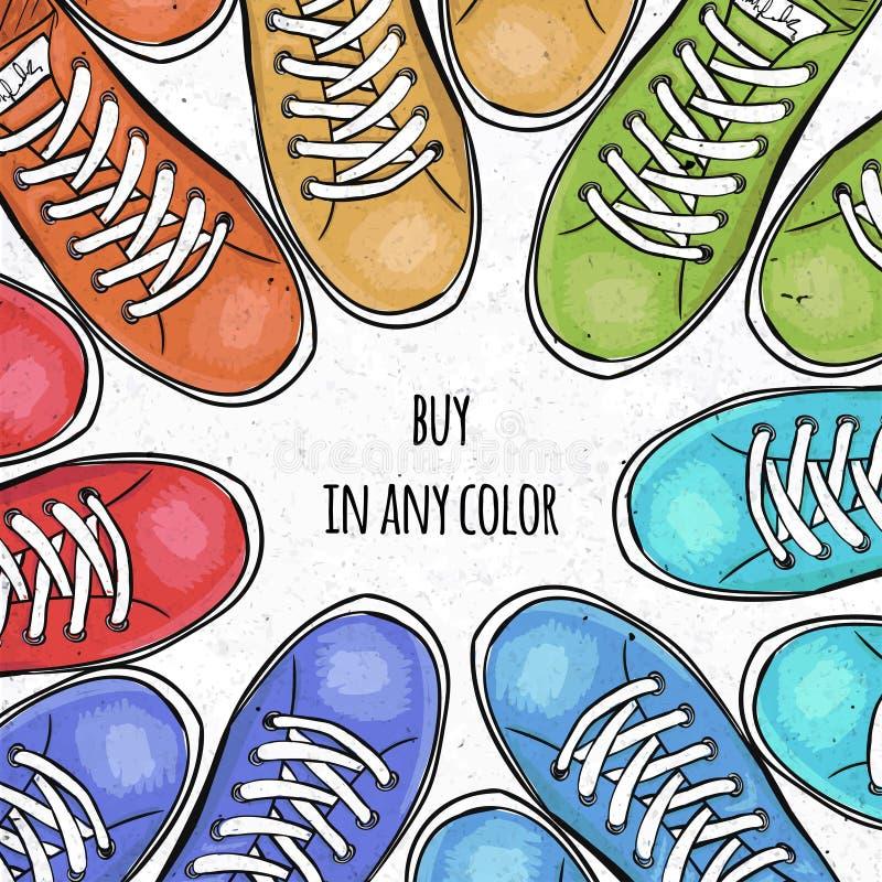 Спортивно красочный плакат для того чтобы разрекламировать ботинки спорт Купите тапки в любом цвете вектор иллюстрация вектора
