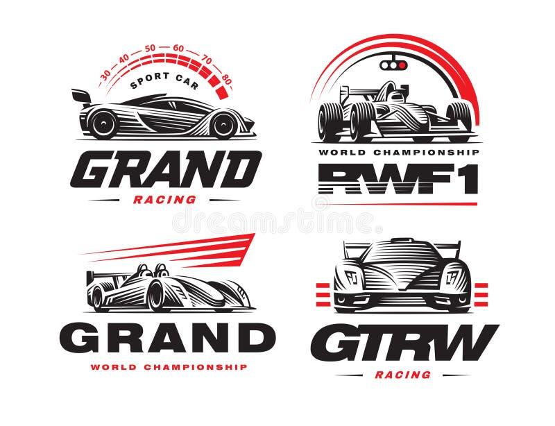 Спортивные машины установили иллюстрацию на белой предпосылке бесплатная иллюстрация