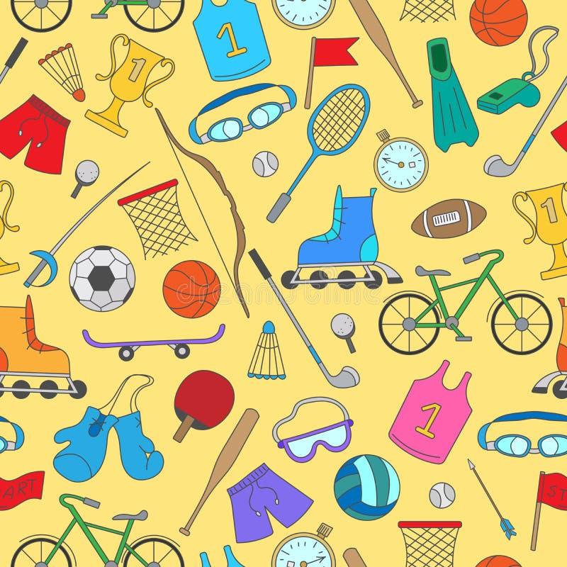 Спортивный инвентарь, безшовная картина, простые значки цвета на желтой предпосылке иллюстрация штока