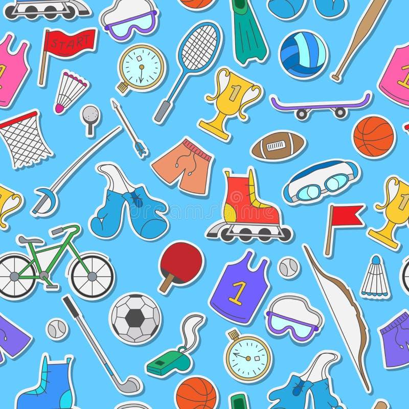 Спортивный инвентарь, безшовная предпосылка, простые значки на голубой предпосылке бесплатная иллюстрация