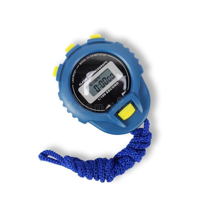 Спортивный инвентарь - голубой секундомер изолировано стоковое изображение rf