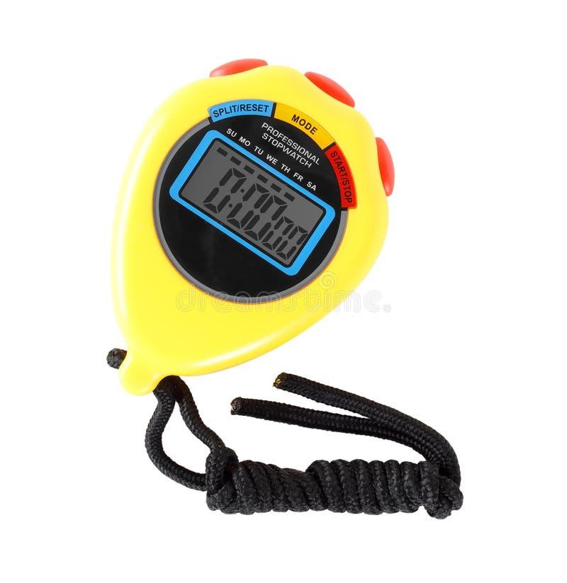 Спортивный инвентарь - желтый секундомер o стоковое фото rf
