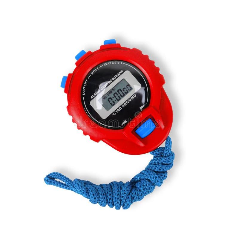 Спортивный инвентарь - красный голубой секундомер o стоковые изображения
