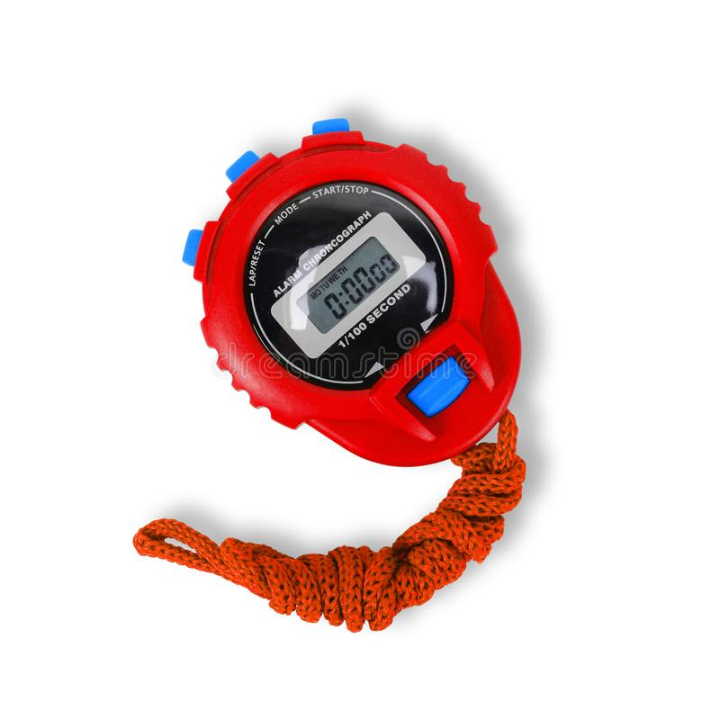 Спортивный инвентарь - красный секундомер изолировано стоковое изображение