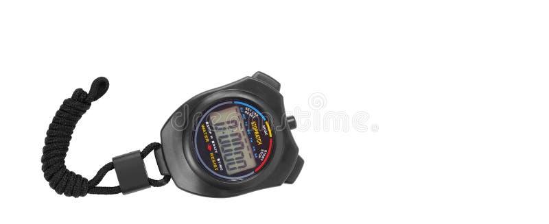 Спортивный инвентарь - черный изолированный секундомер стоковое изображение