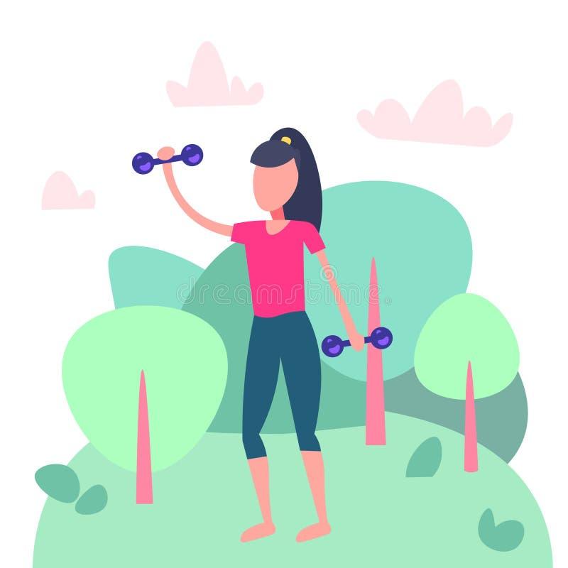 Спортсменка делая физические рывки благоустраивает шарж деятельности при фитнеса женщины спорта фитнеса предпосылки аэробный женс иллюстрация вектора