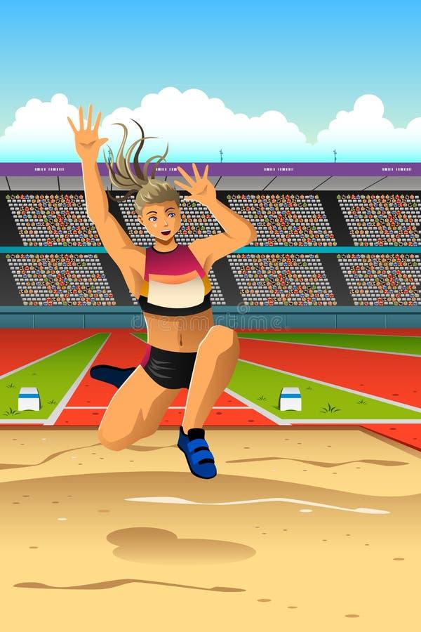 Спортсменка делает большой скачок в конкуренции иллюстрация вектора