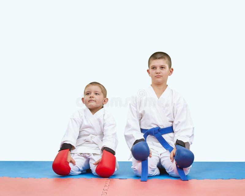 Спортсмены братьев сидя на циновки в карате представляют стоковое фото rf