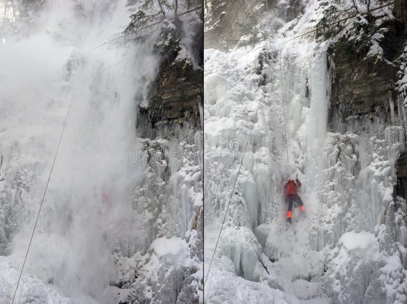 Спортсмены на водопаде Manyavsky упали в лавину стоковая фотография