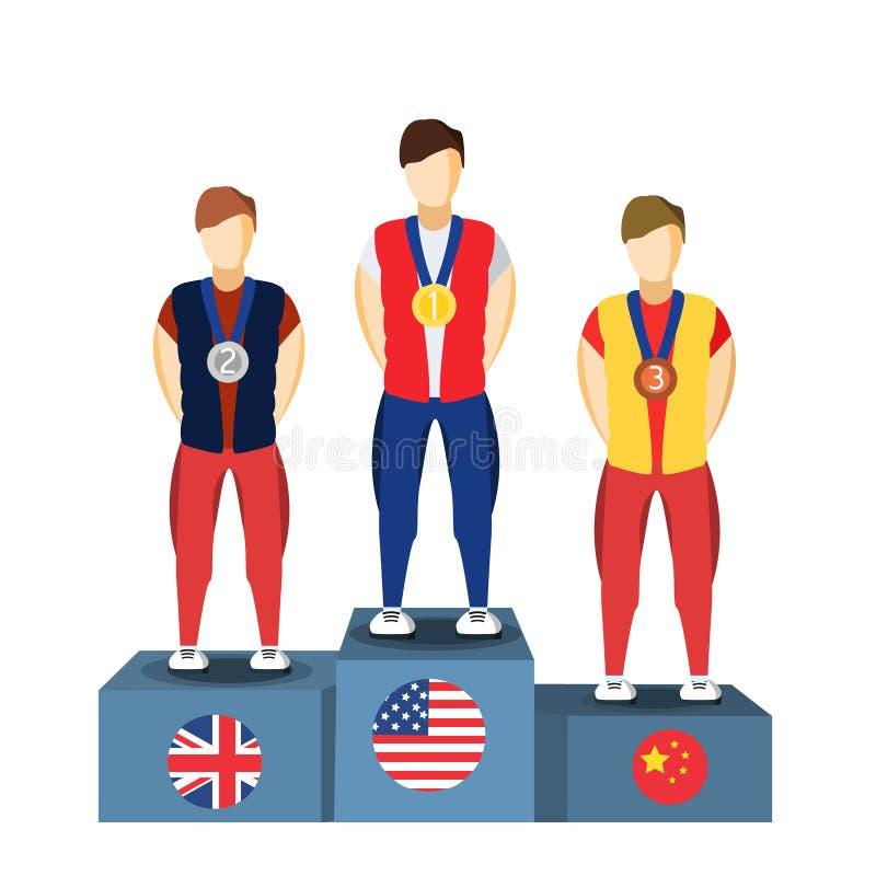 Спортсмены подиума победителя атлетики Изображение спорт Спортсмен игр лета Бразилии значок 2016 Бразилии Олимпиад иллюстрация штока