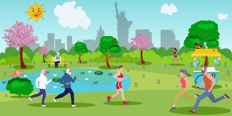 Спортсмены различных возрастов бегут бесплатная иллюстрация