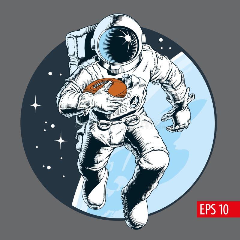 Спортсмен астронавта играя американский футбол в космосе также вектор иллюстрации притяжки corel иллюстрация штока