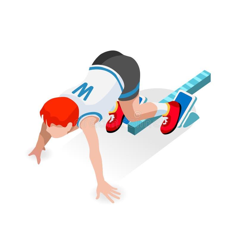 Спортсмен бегуна спринтера на комплекте значка игр лета старта гонки атлетики исходного рубежа плоский равновеликий спорт 3D бегу бесплатная иллюстрация