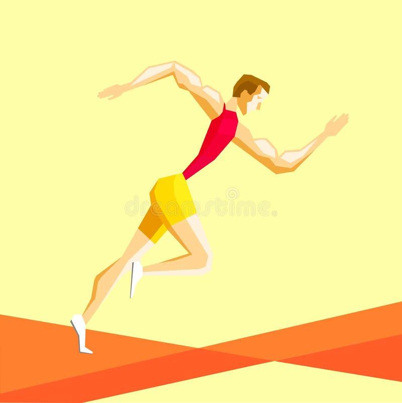 Спортсмен бежит иллюстрация штока