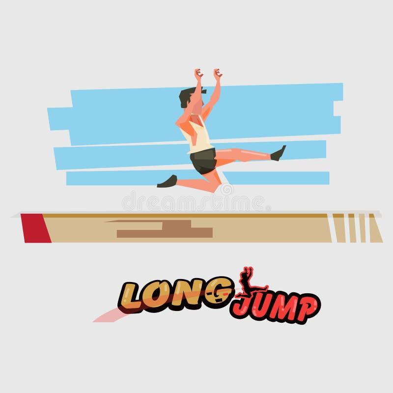 Спортсмен большого скачка в действии с типографским - иллюстрация штока