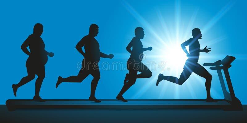Спортсмен делает физические упражнения на третбане для того чтобы потерять вес иллюстрация вектора