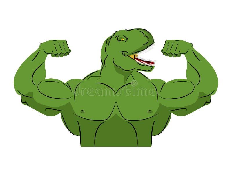 Спортсмен динозавра сильный Сердитый тиранозавр фитнеса иллюстрация вектора