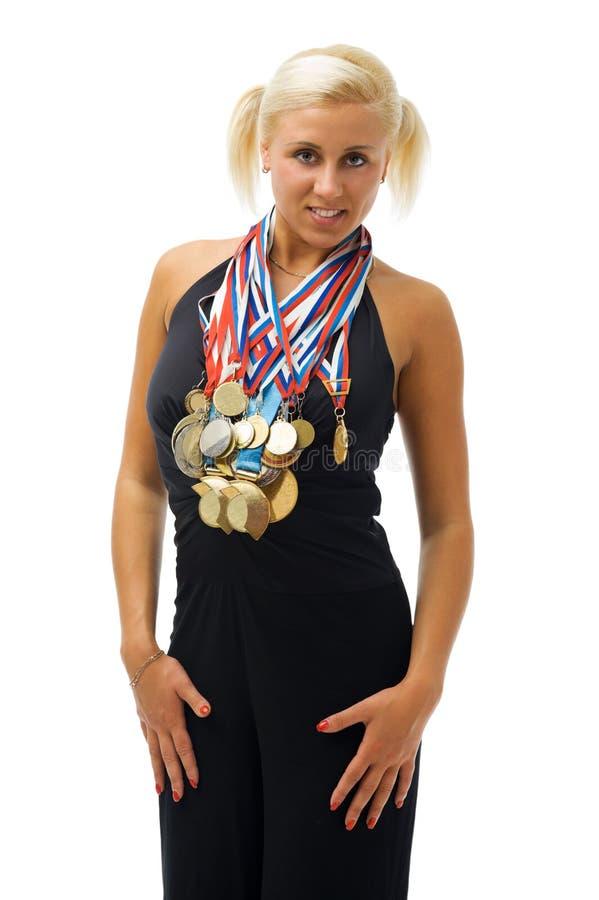 спортсмен наградил медали их стоковые фото