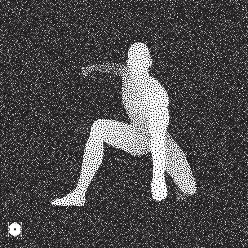 Спортсмен на исходной позиции готовой для того чтобы начать гонку Бегун готовый для тренировки спорт Черно-белый зернистый дизайн бесплатная иллюстрация