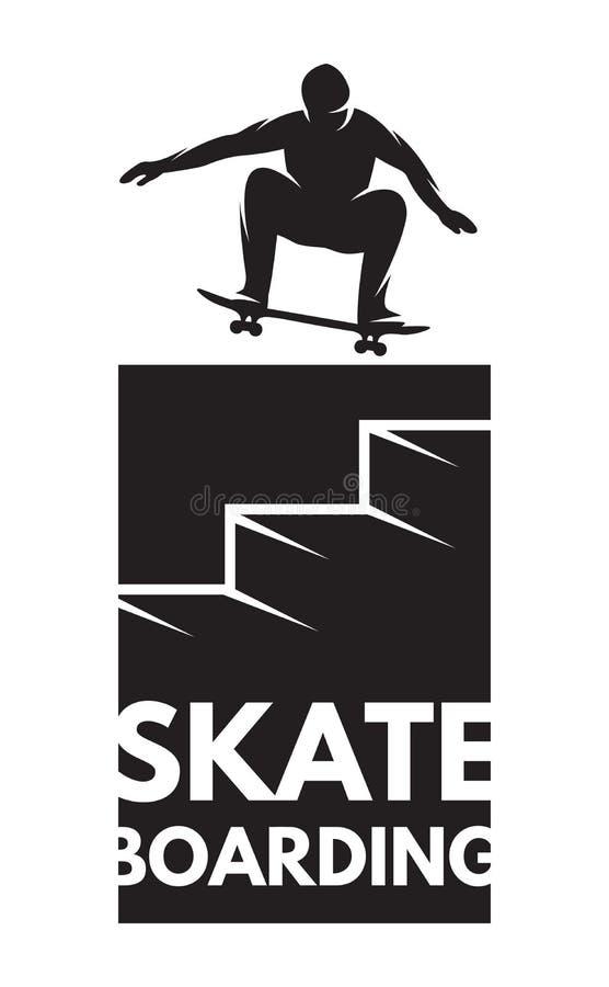 Спортсмен скейтбордиста в скачке как значок на теме skateboarding иллюстрация вектора